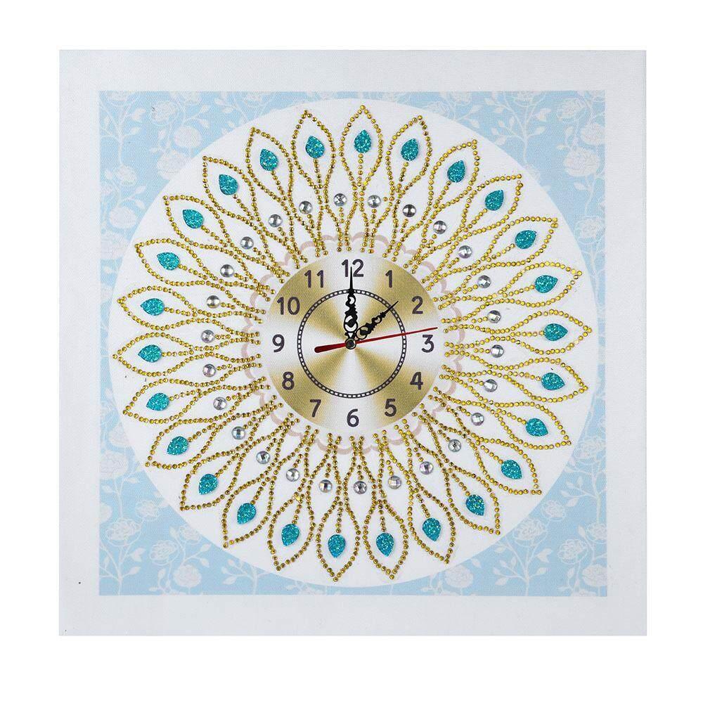 BuyBowie Wall Clock, 5D Creative Diamond-Shaped Embroidery Clock Luxury Beautiful DIY Handmade Cross Diamond Crafts Decor for Home Wall