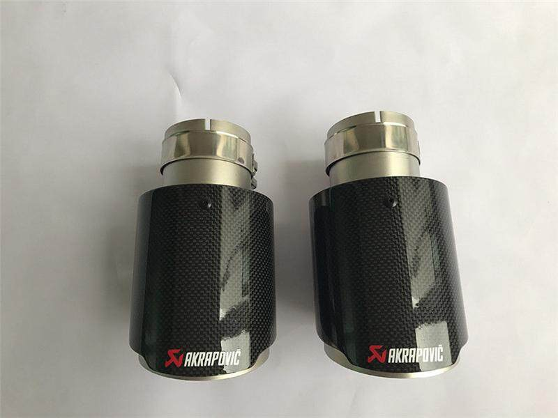 """3/"""" 76MM OUT 2 X IN 4.5/"""" 114MM Akrapovic Glossy Carbon Fiber pipe Exhaust Tip"""