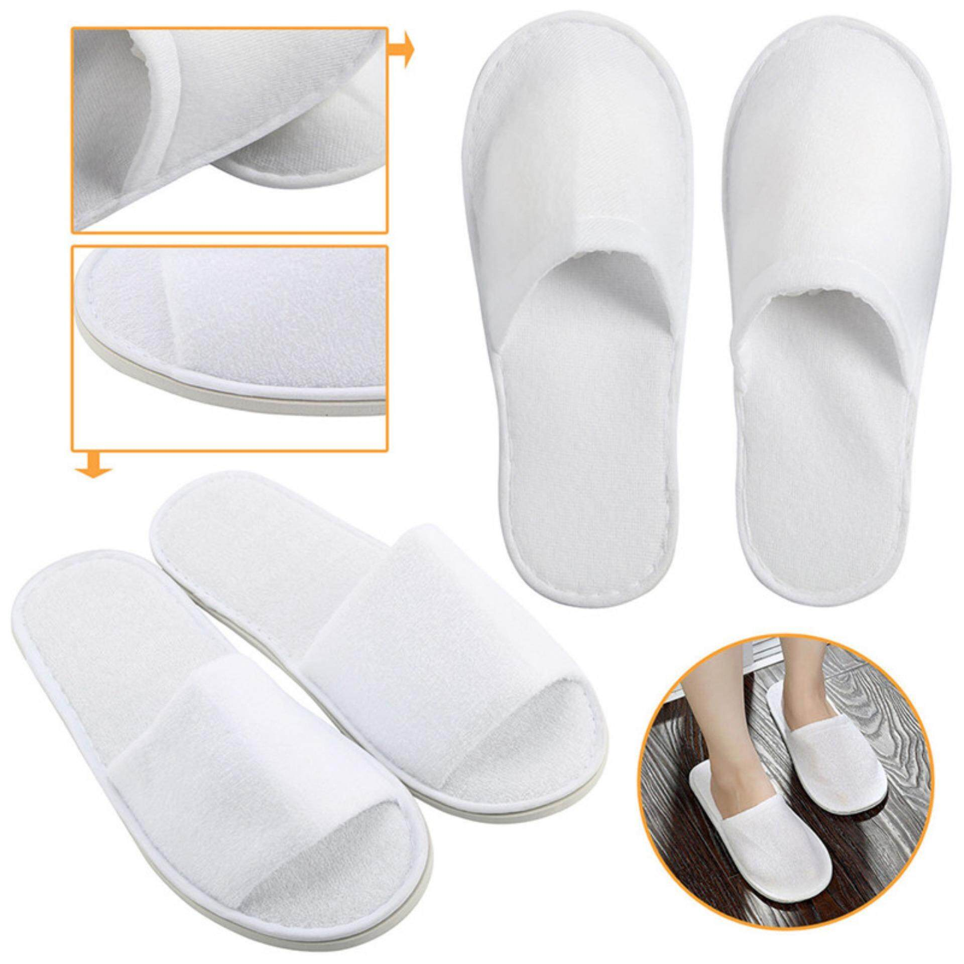 1 Pairs White Towelling Open Closed Toe el Slippers Spa Shoes Disposable White 27cm