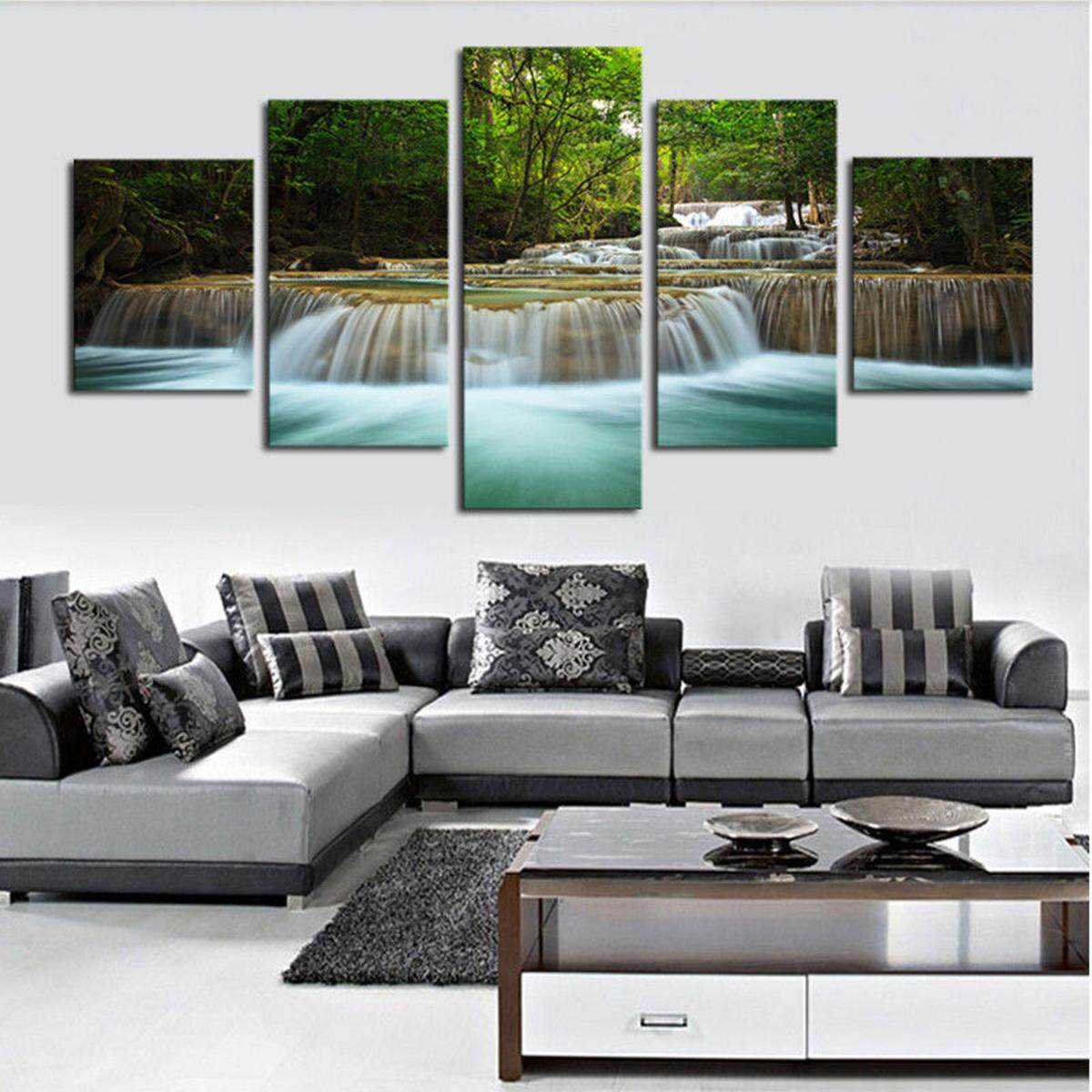 Home Decor Canvas Print Painting Wall Art Modern Waterfall River Forest no frame #30x40x2 30x60x2 30x80