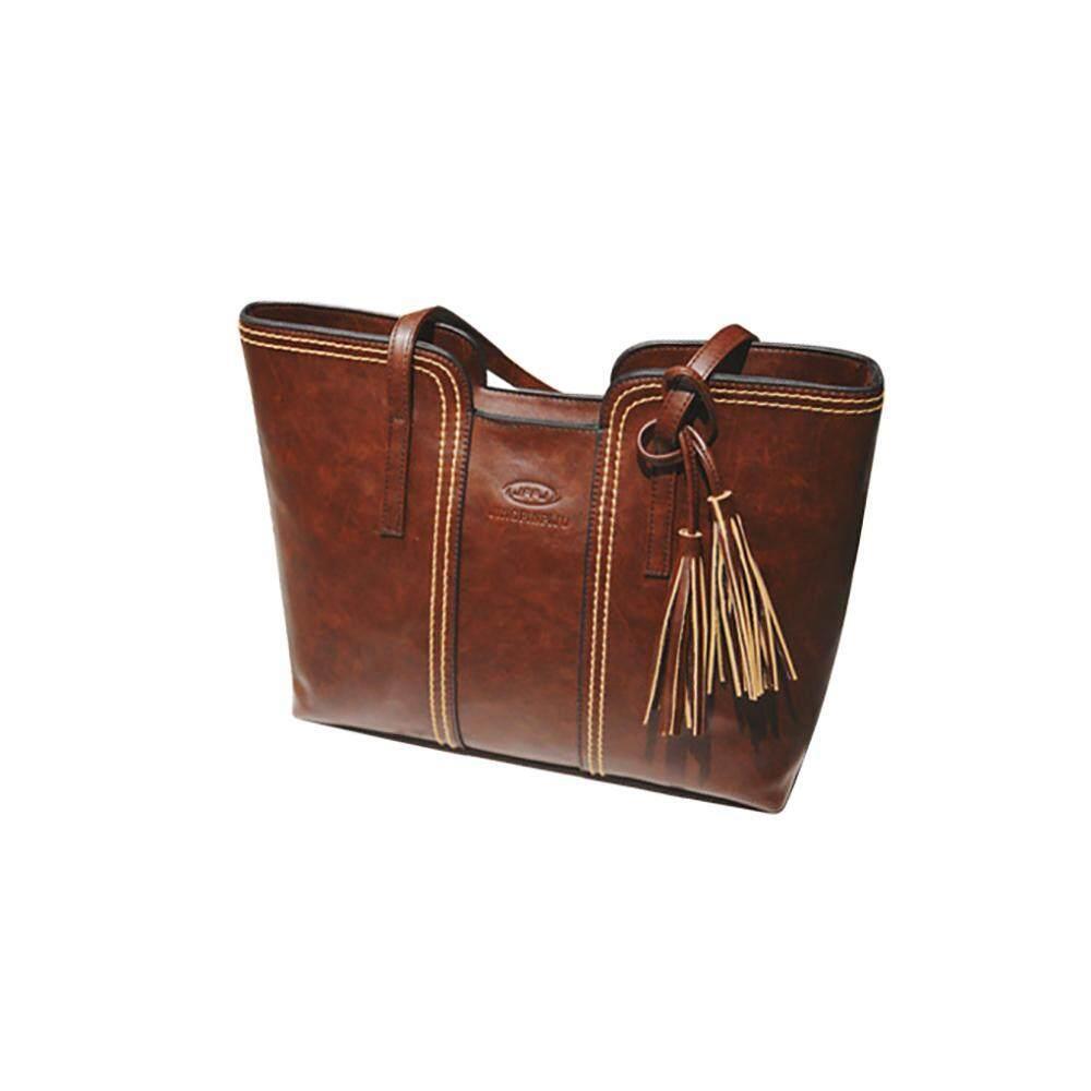 Lady Vintage Tas Tangan Rumbai Kapasitas Besar Tas Bahu Kulit Tas Santai, Coklat