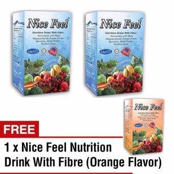 Beli 2 Percuma 1 Nice Feel Minuman Nutrisi Fiber Untuk Masalah Sembelit/Detox/Cleanse/Diet/Slimming (2 Vege + 1 Oren Flavor)