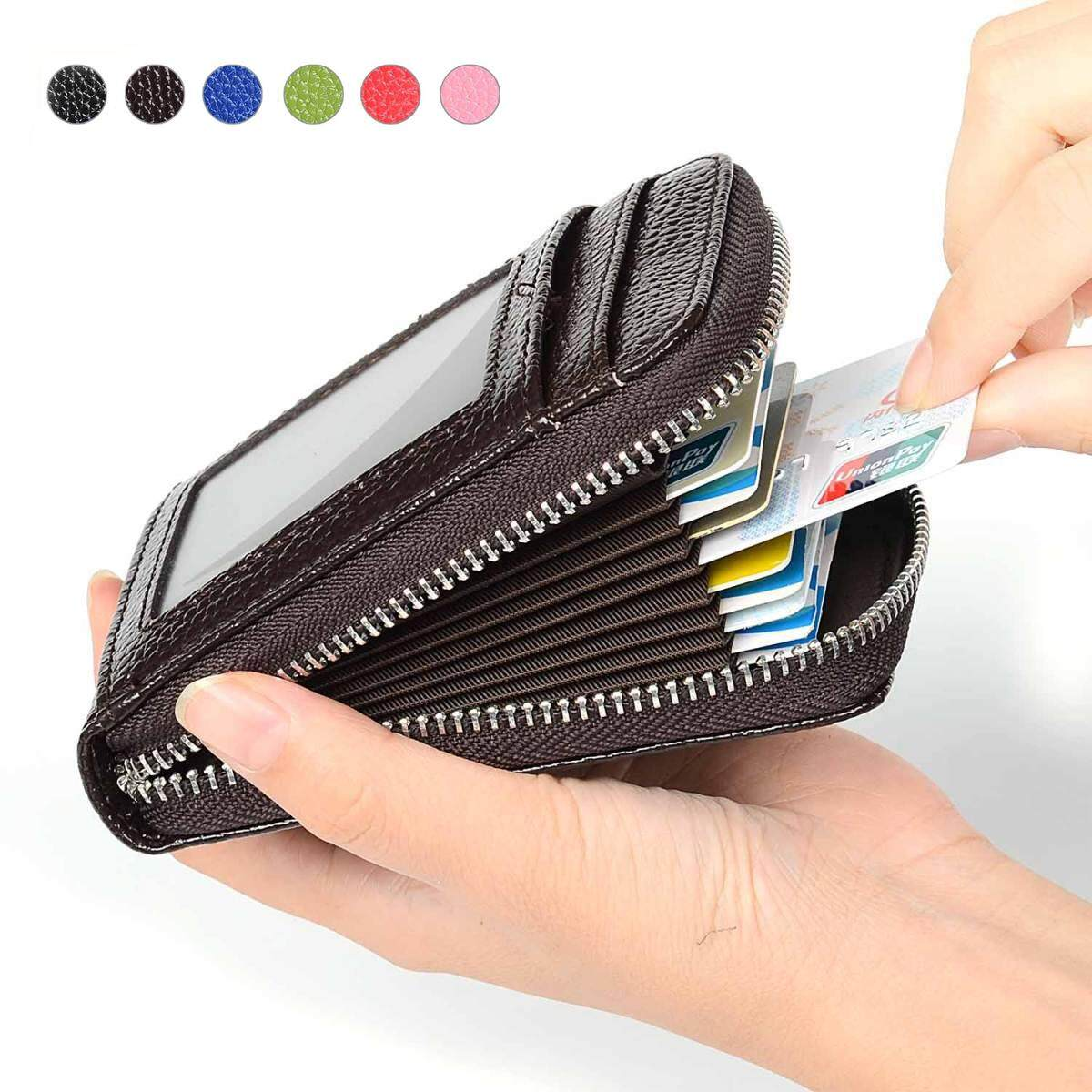 b80fae92d1e6 RFID Blocking Genuine Leather Credit Card Case Holder Security Travel  Wallet Front Pocket Wallets for Men and Women