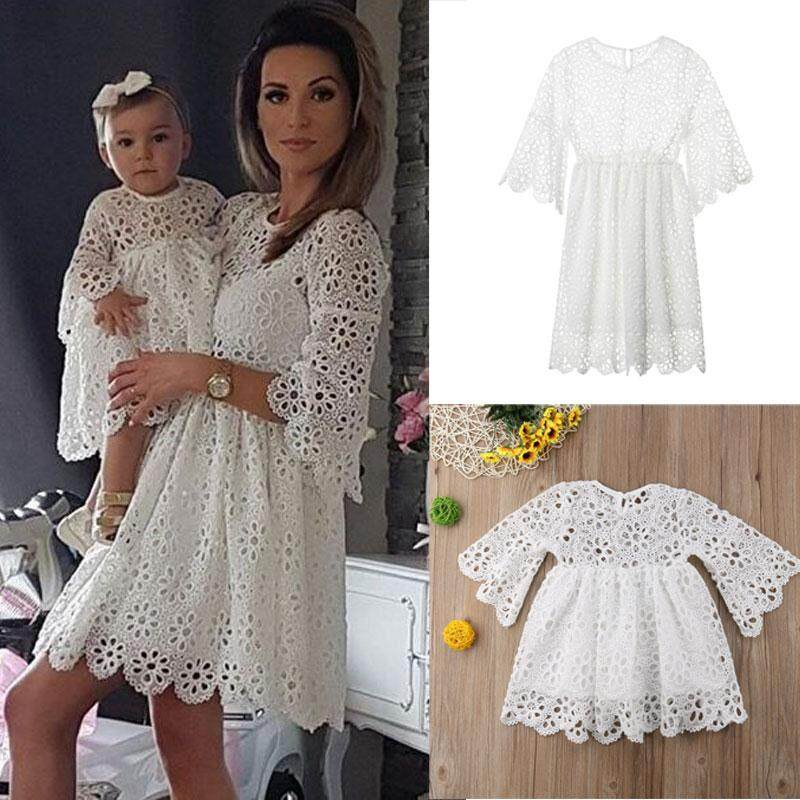 86075057d9 Product details of Mother Daughter Clothes Parent-child Fringe Lace Dress  Family Matching Outfit