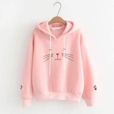 Weania Womens Sweater Cat Print Long Sleeve Hoodie Korean Thick Sweater By Weania.
