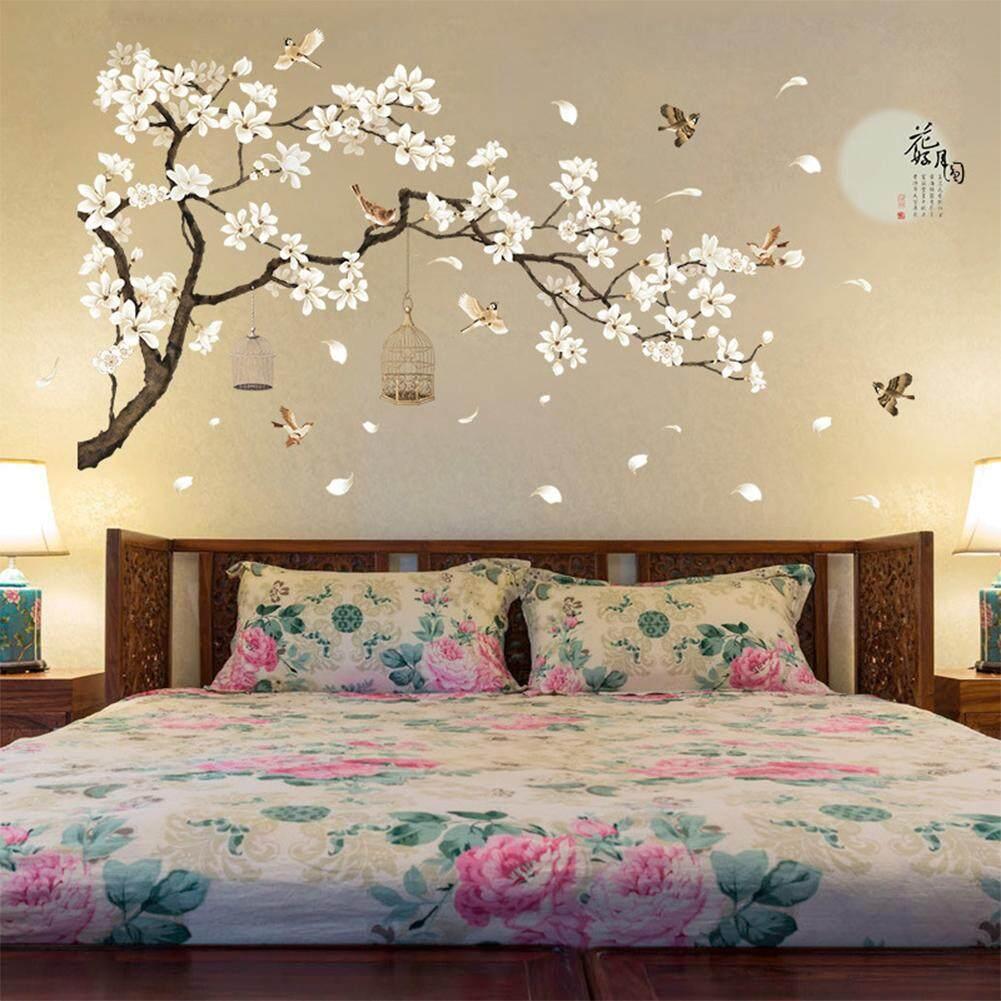 187X128 Cm Ukuran Besar Pohon Stiker Dinding Gambar Burung Bunga Wallpaper Hiasan Rumah Untuk Ruang Tamu Kamar Tidur Diy Dekorasi Kamar