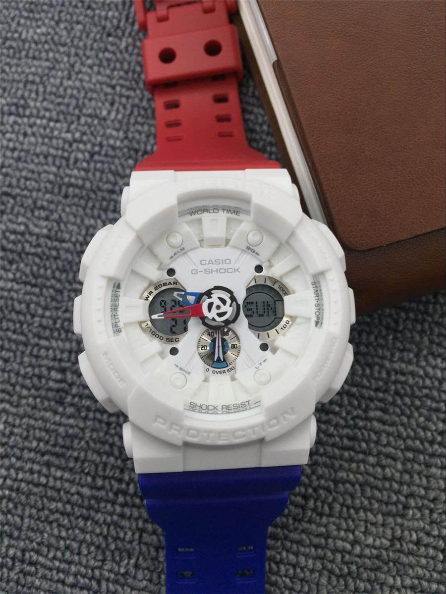 Kualitas Premium Gaya G_Shock Pria Tali Selai Merah & Biru Resin Perhiasan GA-120-1A2