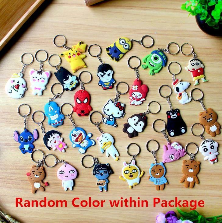 1 PCS Various Cartoon Silicone Key chain Cute Gift Random Color