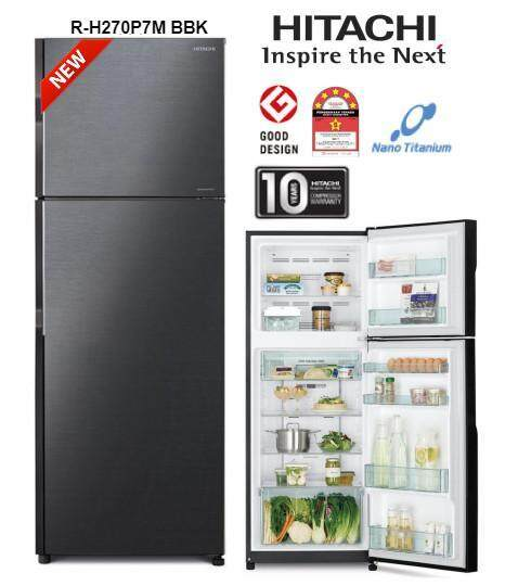 (AUTHORISED DEALER)HITACHI R-H270P7M BBK 230L INVERTER 2 DOOR FRIDGE REFRIGERATOR (KLANG VALLEY delivery by own lorry) [confirm no dented worry]