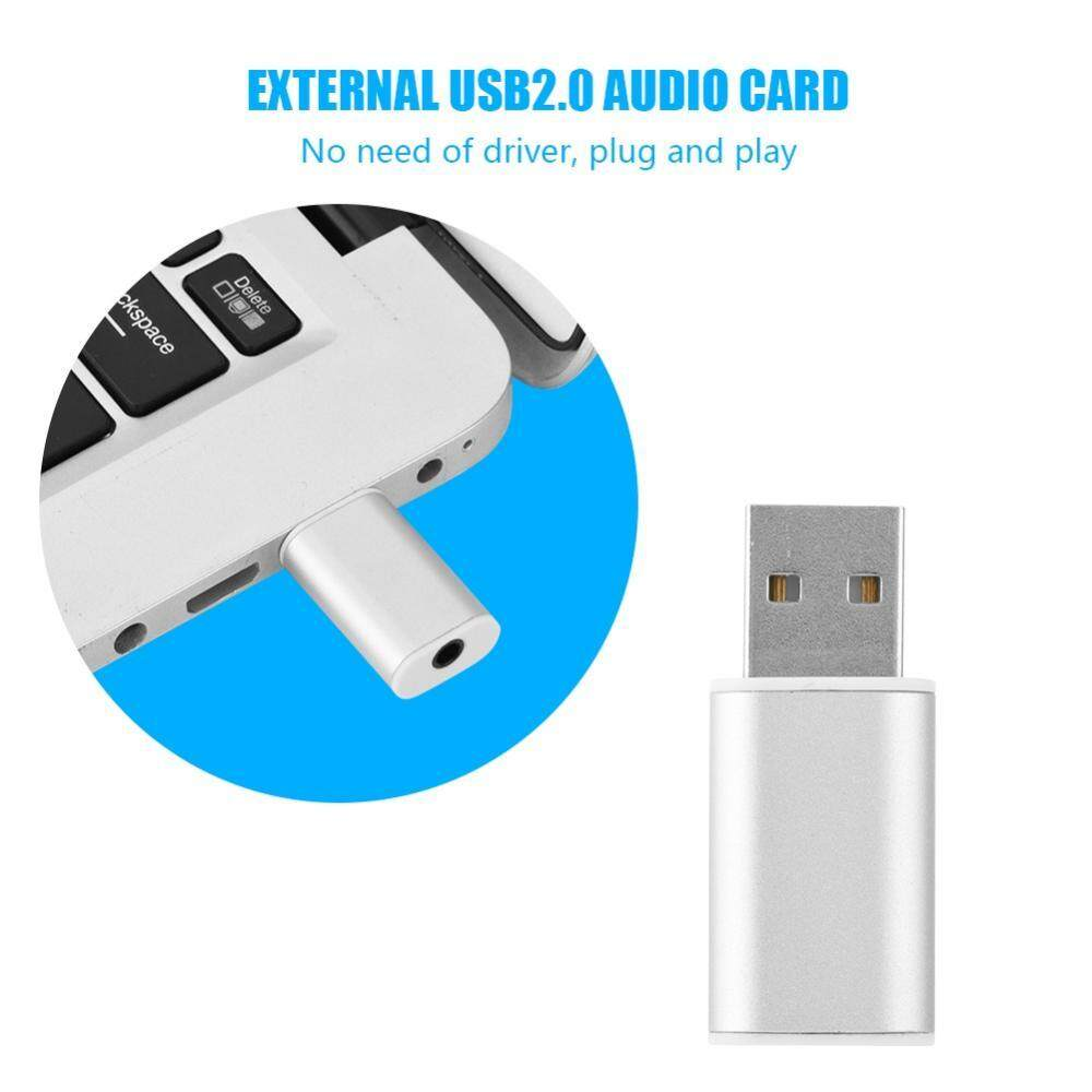 External USB Sound Card External USB 2.0 to 3.5mm Stereo Audio Sound Card Mic Adapter Speaker (Silver) - intl