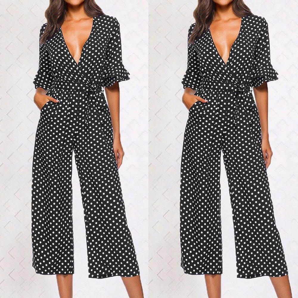 Vernonstore_women Polka dot พิมพ์กางเกงขากว้างคอวียาว jumpsuit ผ้าพันแผล Playsuit