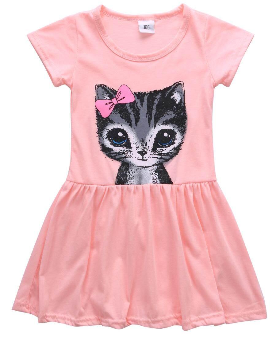 03e0529c Summer Baby Kids Girls Dress Toddler Short Sleeve Princess Party Tutu Cute  Cat Dress Clothes