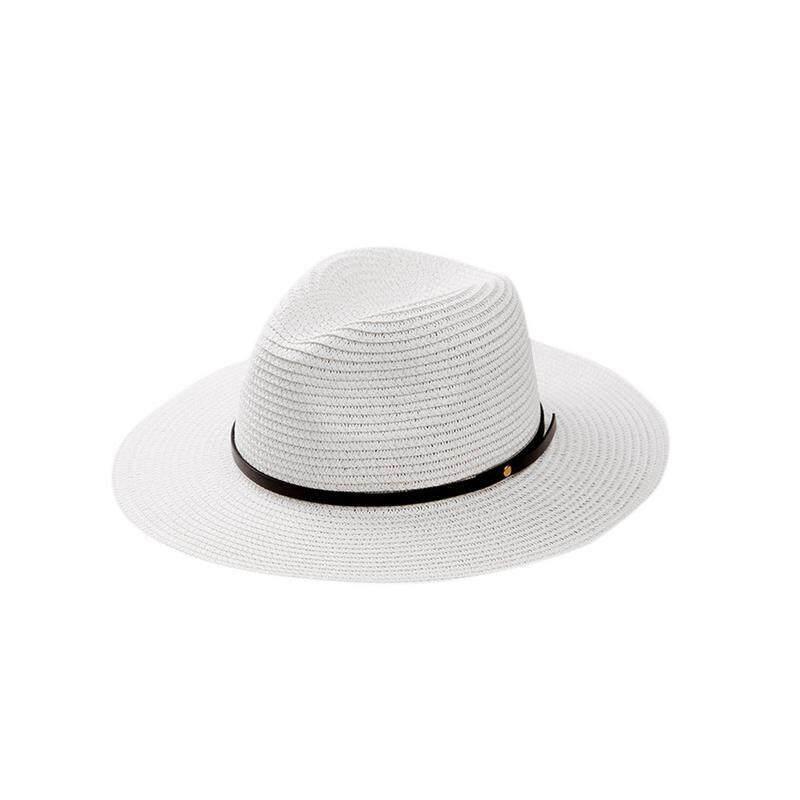 7d974e17 Lanzom Women Wide Brim Straw Panama Roll up Hat Fedora Beach Sun Hat UPF50+  - intl