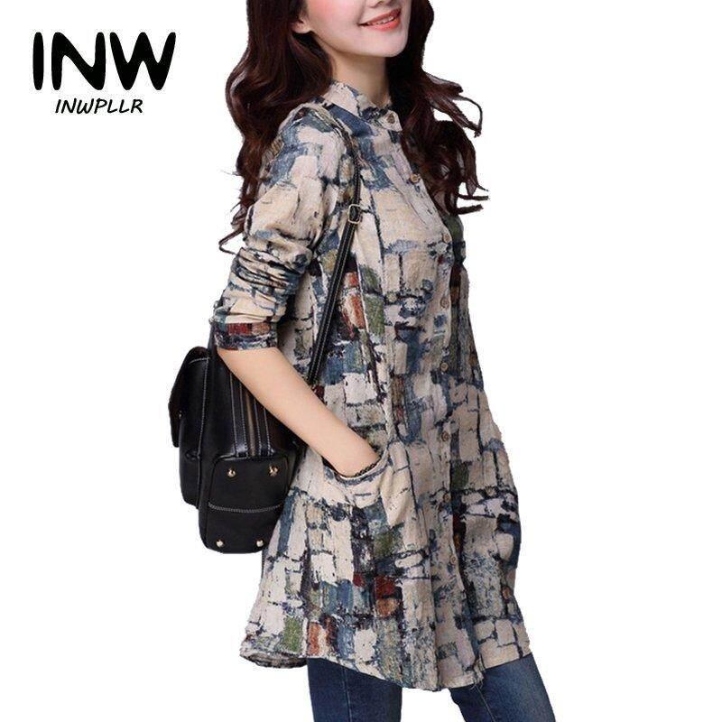 INWPLLR Women Shirts Trendy Cotton Linen Blouses Women Tops Autumn Winter Long Sleeve Tribal Print Blouses Long Tunic Tops Ladies