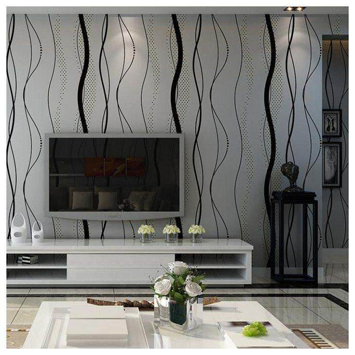Wall paper for TV Background of Bedroom Wall Sticker 3D Curved Stripes Non-woven Wallpaper Decoration of Bedroom 0.53 x 10m