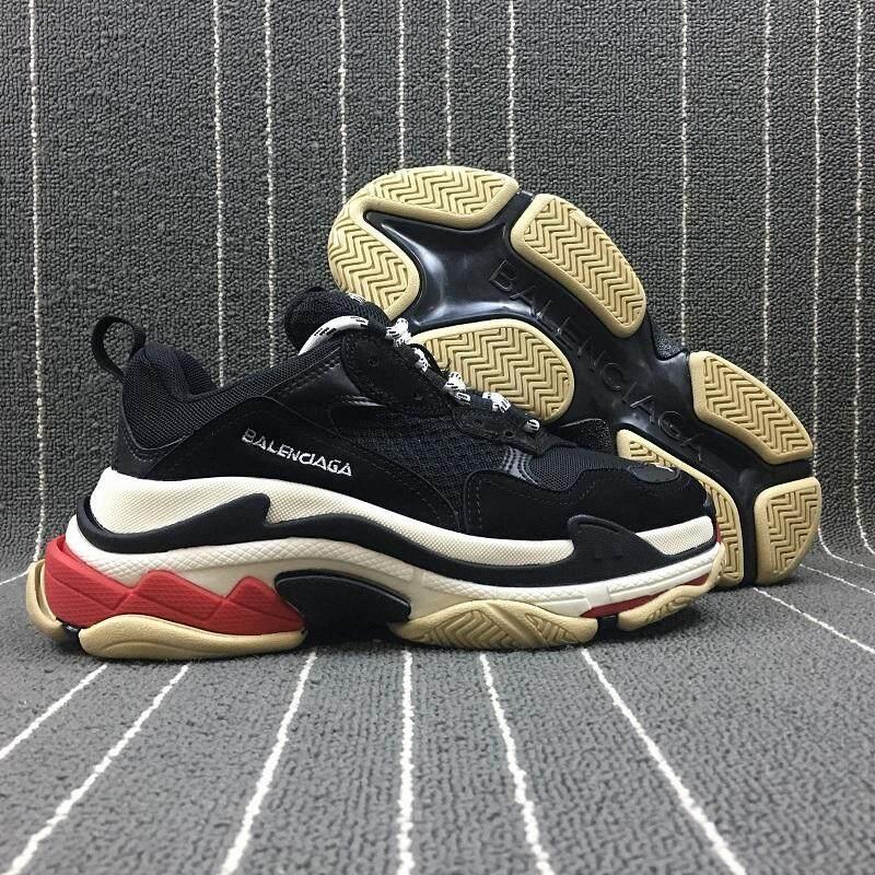 2018 Balenciaga Pria & Wanita Vintage Tripe-S Pelatih Sneaker Fashion Nyaman Santai Berjalan Sepatu Olahraga Gaya Hidup Beberapa Beralas Tebal sepatu Hitam Size 36-44-Intl