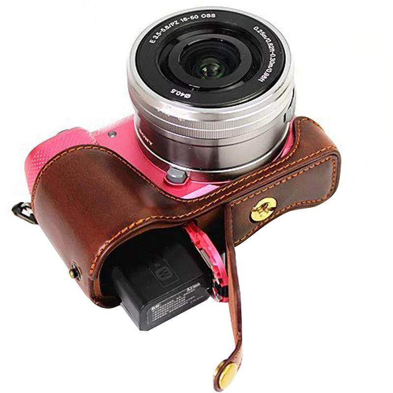 PU leather Half Body For Sony A5000 A5100 ILCE-5100 ILCE-5000 Video Camera Case
