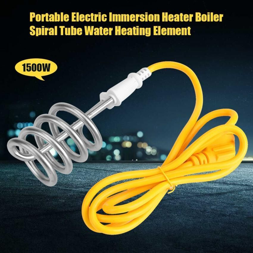 epayst  Portable Electric Immersion Heater Boiler Spiral Tube Water Heating Element 1500W 220V