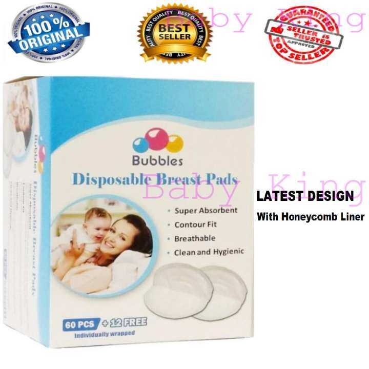 [FREE SHIPPING] Bubbles Disposable Breastpads 72 's (60 pcs Free 12 pcs) individual pack nursing breast pad