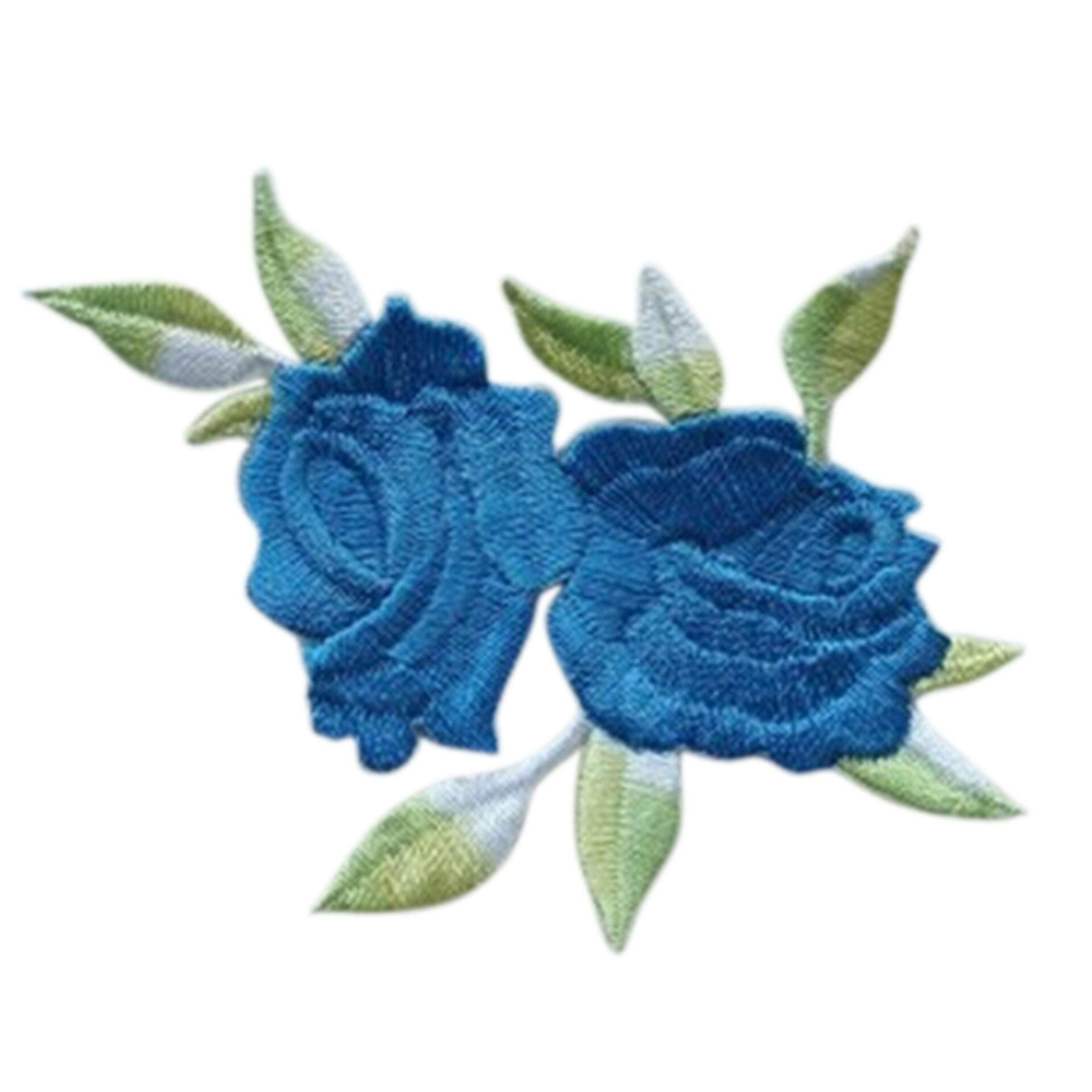 Rose Flower Leaves Embroidery Iron On Applique Patch Blue