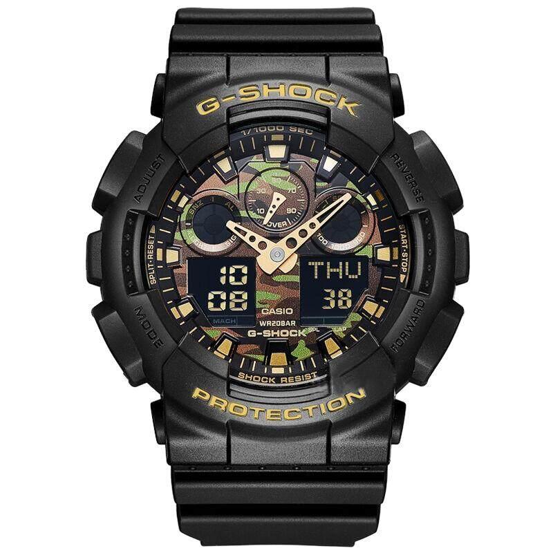 ยี่ห้อนี้ดีไหม  สงขลา 【 STOCK】Original _ Casio_G-Shock GA-100 Duo W/เวลา 200M กันน้ำกันกระแทกและกันน้ำโลกนาฬิกากีฬาไฟแอลอีดีอัตโนมัติ Wist นาฬิกากีฬาสำหรับ MenGA-100CF-1A9 Camo