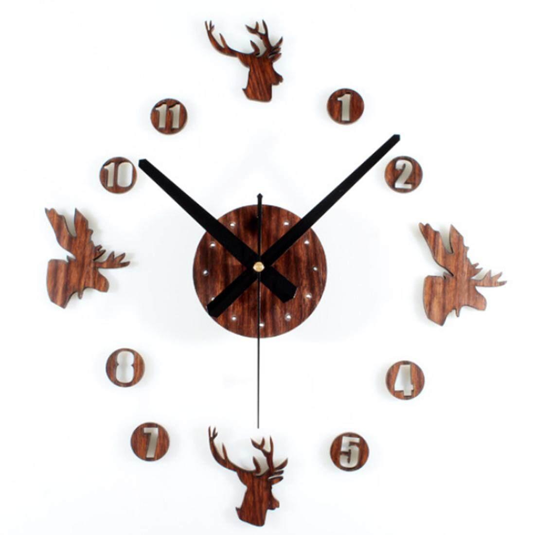 360DSC Eropa Retro Dekorasi Rumah Gaya Pastoral Kayu Jam Dinding DIY Kepala Rusa Dikombinasikan Clock-