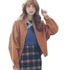 Thời trang nữ Hàn Quốc Rời Ngắn Áo Khoác Bóng Chày Áo Khoác Kaki Áo Liền Quần