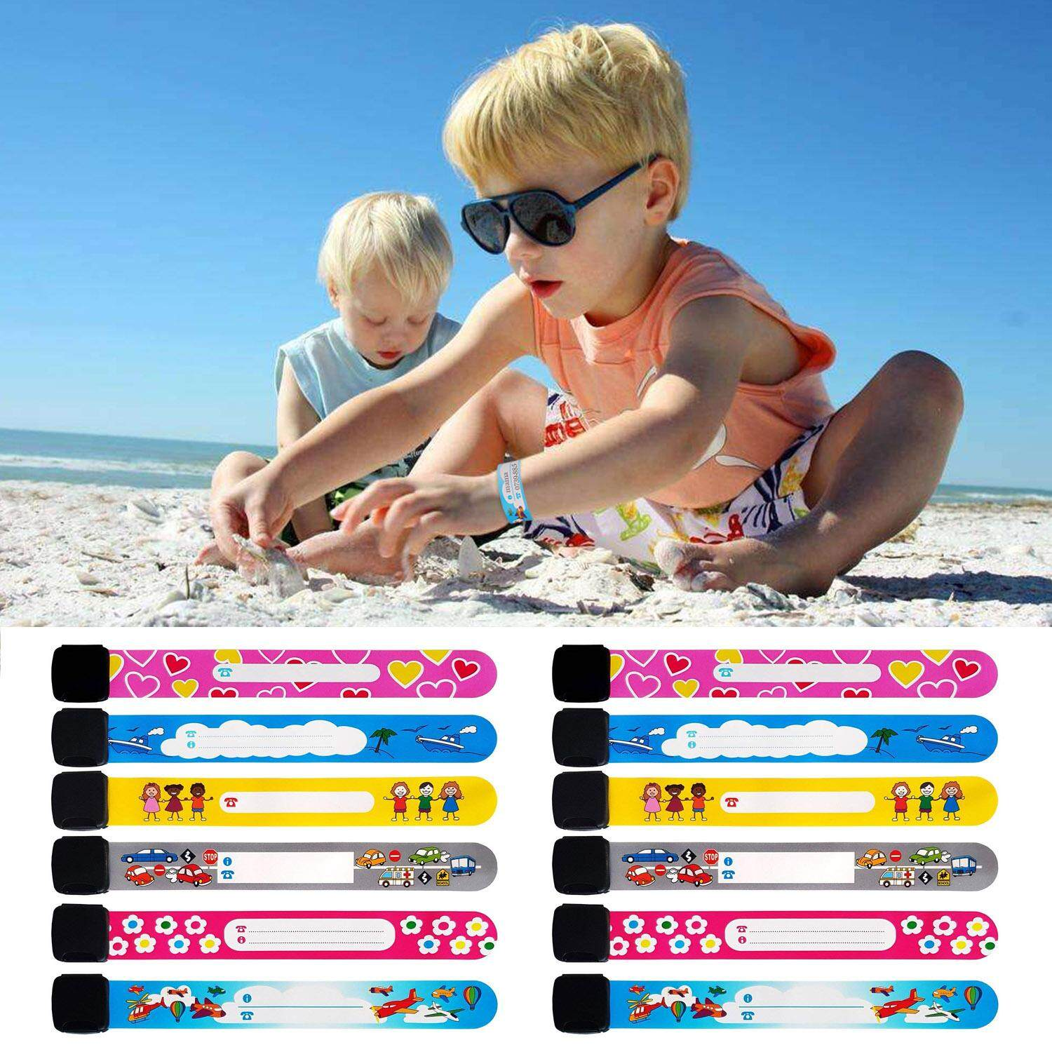 12pcs Colorful Adjustable Reusable Waterproof Child Anti Lost Wristband ID Emergency Contact Link Safety Bracelet with Buckle for Kids Outdoor Safety Random Style image
