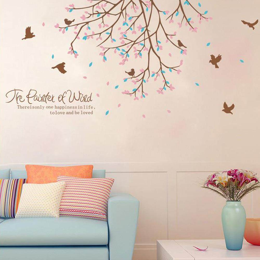 Pink Tree Flower Leaves PVC Wall Decals DIY Home Sticker WallPaper Vinyl Wall arts Pictures Removable Murals For House Decoration Baby Living Rooms Bedroom Toilet