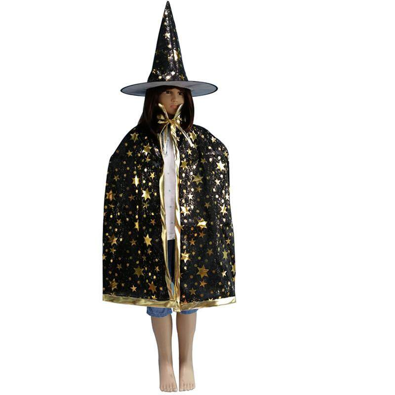 "TFS Kids Halloween Cosplay Costume Wizard Witch Cloak + Hat For ""trick And Treat"""