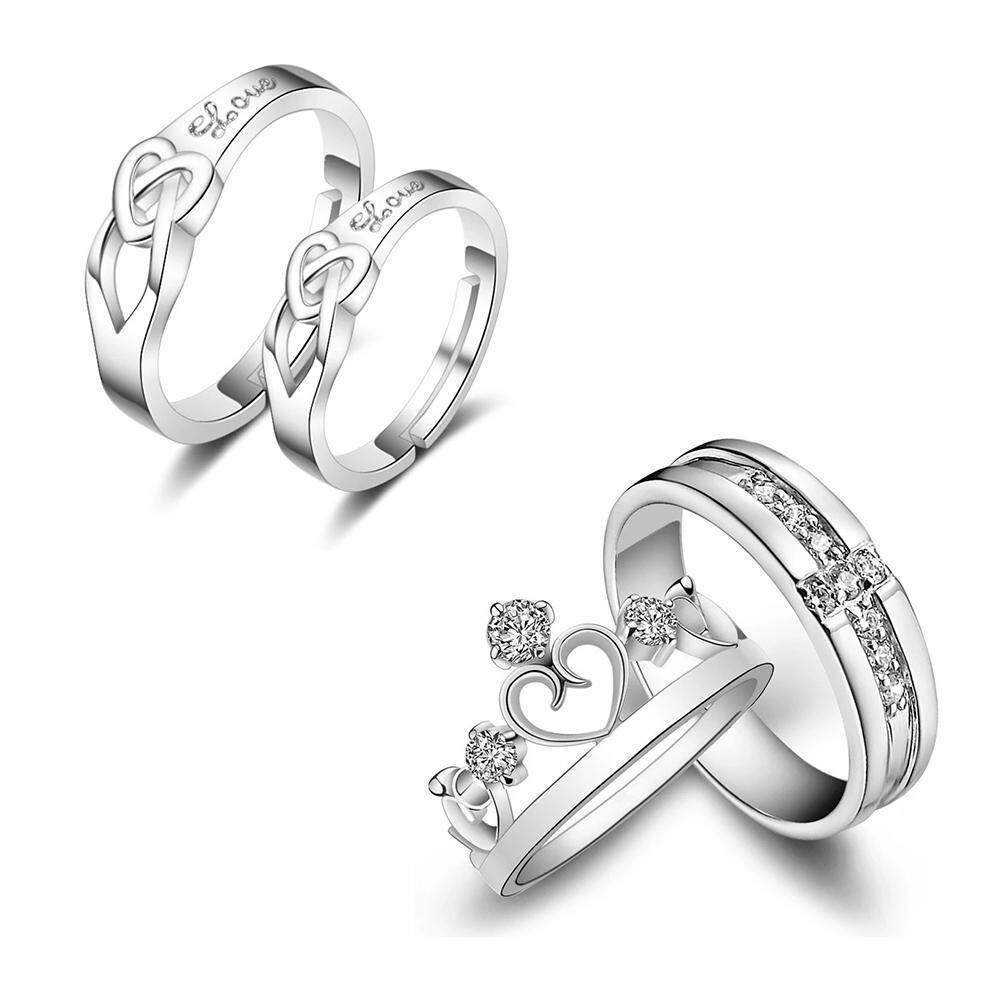 a7ba82afc1366 GoodGreat 4pcs 925 Sterling Silver Rings,Sterling Silver Ring Made,Romantic  Couple Ring Matching Rings Promise Wedding Rings for Simple Endless ...