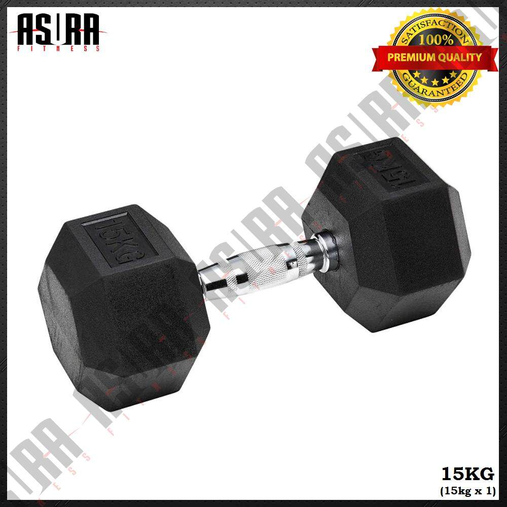 ASURA Fitness 15kg Premium Rubber Coated Hexagon Dumbbell with Contoured Chrome Handle (Single)