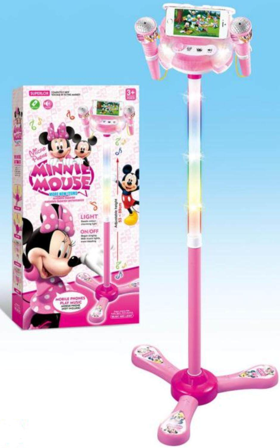 Kid Karaoke Music with 2 Microphone Mics and Adjustable Height Stand with  Dazzling Flashing lights Mobile Phones Pink Play Music Sound Toddler Singer
