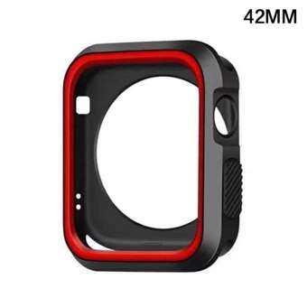 สำหรับ iWatch นาฬิกาแอปเปิ้ล Series 1 2 3 ซิลิโคนตัวป้องกันกรอบเคสหน้าจอ 38 & 42 มม. สีดำและสีขาว 42 มม.-