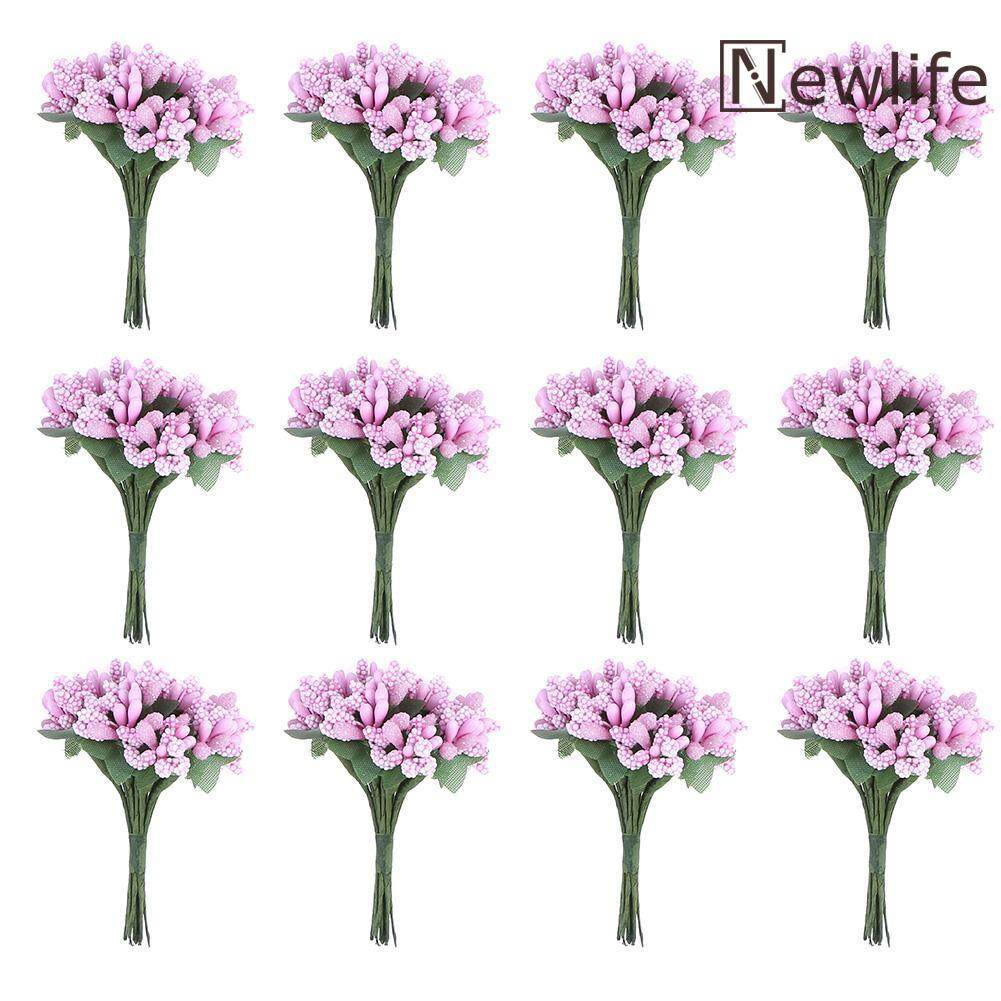 12pcs DIY Dried Artificial Stamen Flowers Scrapbooking Garland Fake Flower Decor