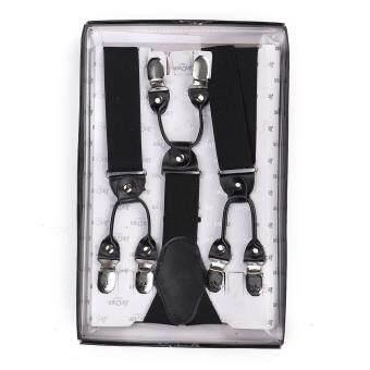 Men Elastic Suspenders Adjustable Black Braces 6 Clips-on Y-Shape Braces Trouse