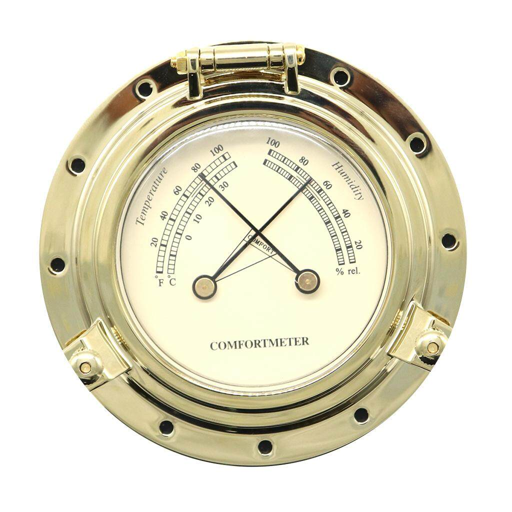 Miracle Shining Gold Roman Vintage Round RV Yacht Dedicated Humidity Temperature Meter