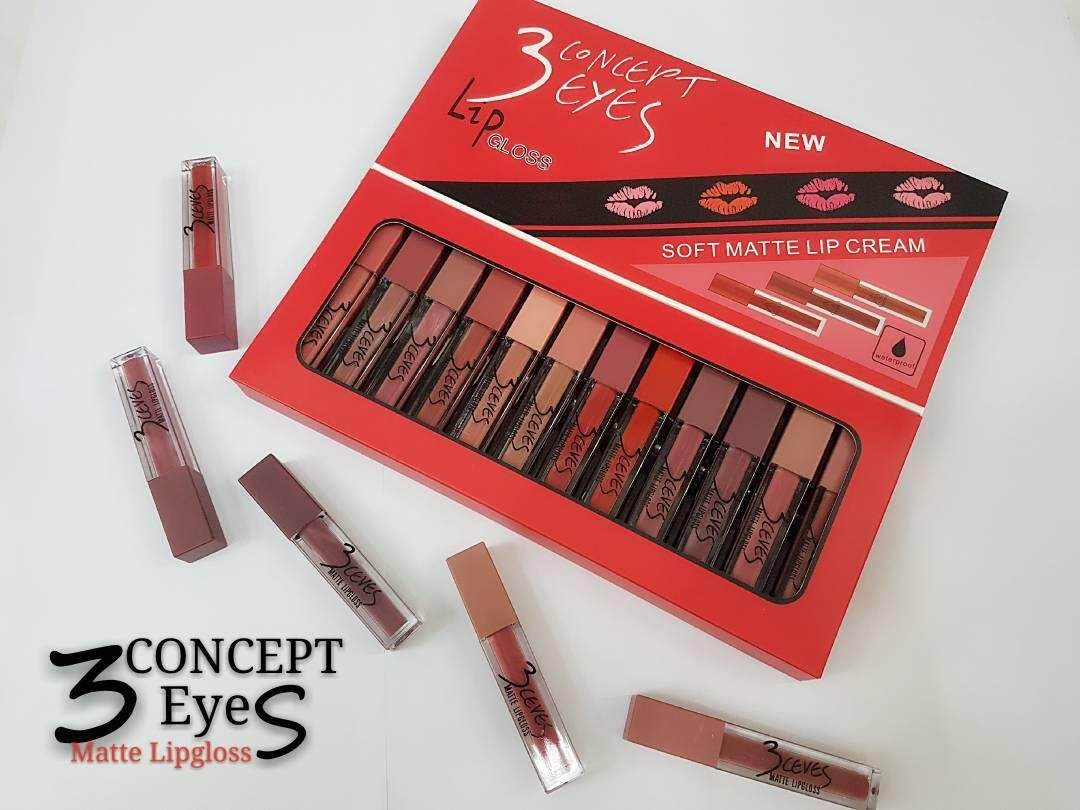 3 Concept_Eyes Matte Lipgloss 12pcs/set