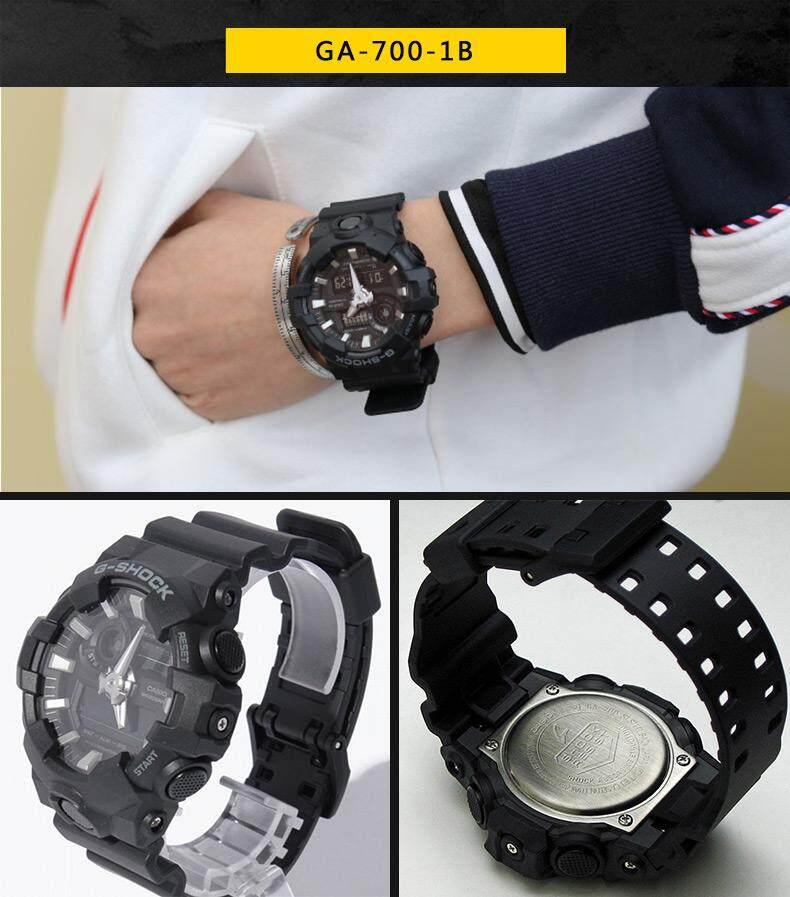 ชัยภูมิ 【 STOCK】Original _ Casio_G-Shock Duo W/เวลา 200M กันน้ำโลกเวลานาฬิกากีฬาไฟแอลอีดีอัตโนมัติ Wist นาฬิกาสำหรับชาย GA-700-1B