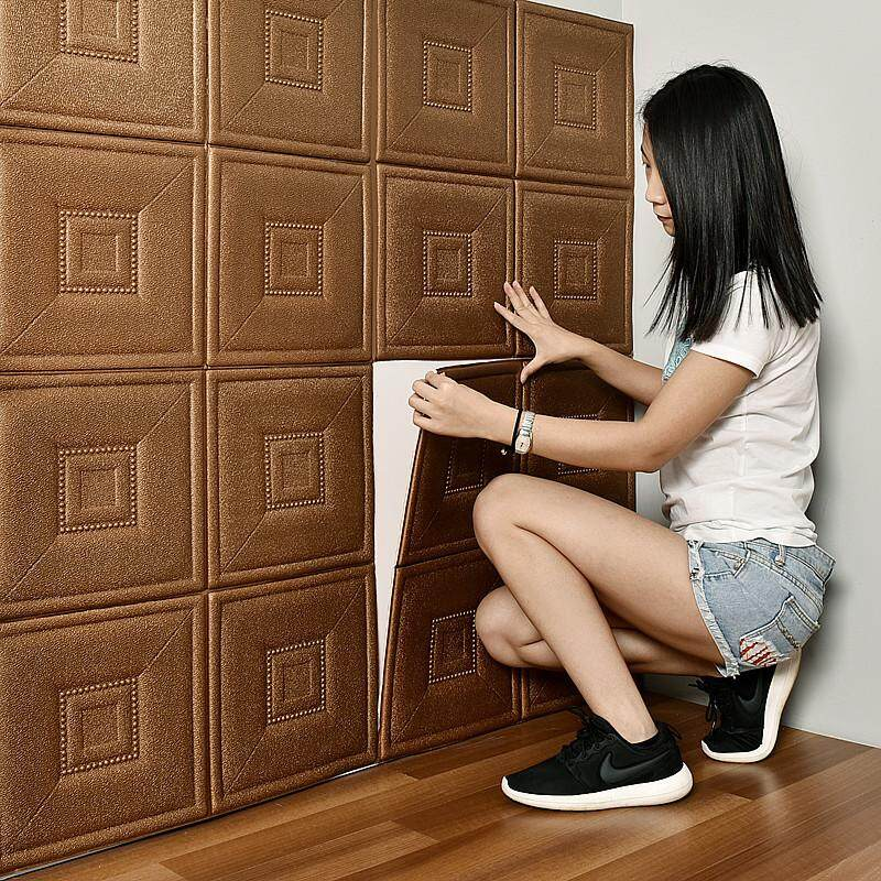 6pcs/set 70x70cm PE Foam 3D Wall Stickers Home Decor Wallpaper DIY Wall Decor Living Room Kids Bedroom