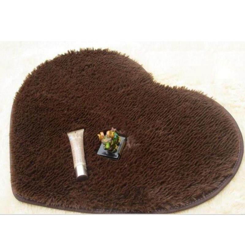 Aukey Storel Bedroom Bathromm Door Heart-Shaped Carpet Floor Mat Plush Cushion Pad Shaggy Rug