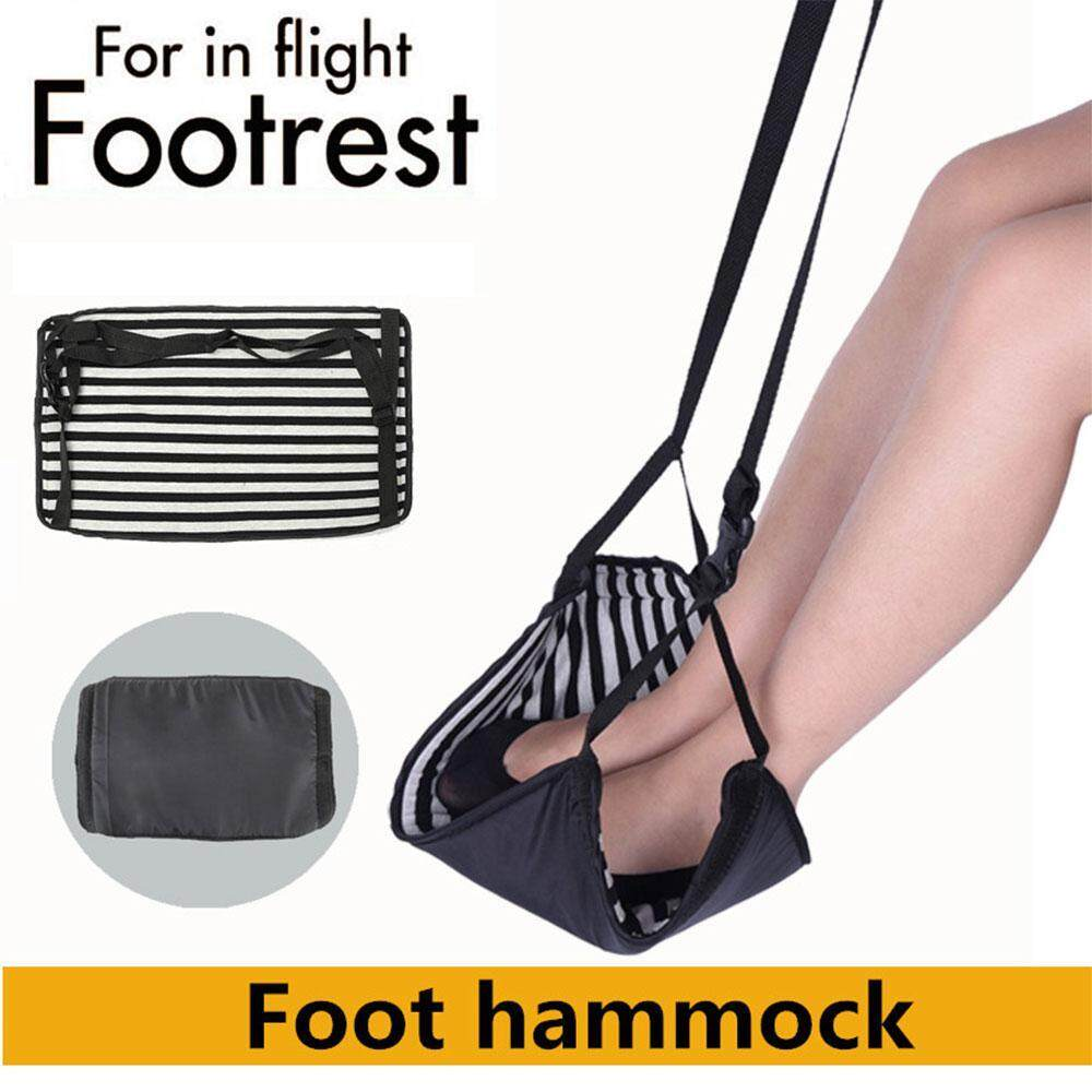 Treeone Airplane Footrest, Leg Hammock, Portable Travel Carry-On Flight Foot Rest, Prevent Swelling and Sorenes, Adjustable Feet Relax Hammock with Storage Bag for Home Office Car Plane