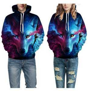 Hình ảnh 3D Wolf Printed Hoodie Men Women Cool Animal Sweater able Unisex Pullover Couple Coat From Gardenia