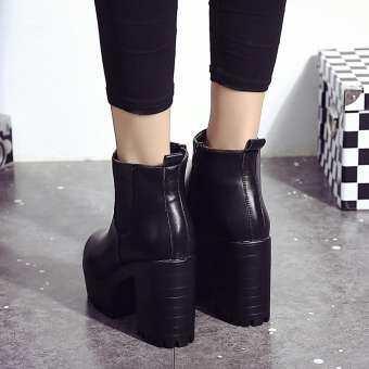 ผู้หญิงรองเท้าส้นแพลตฟอร์มหนังต้นขาสูงปั๊มรองเท้ารองเท้า BK/35-