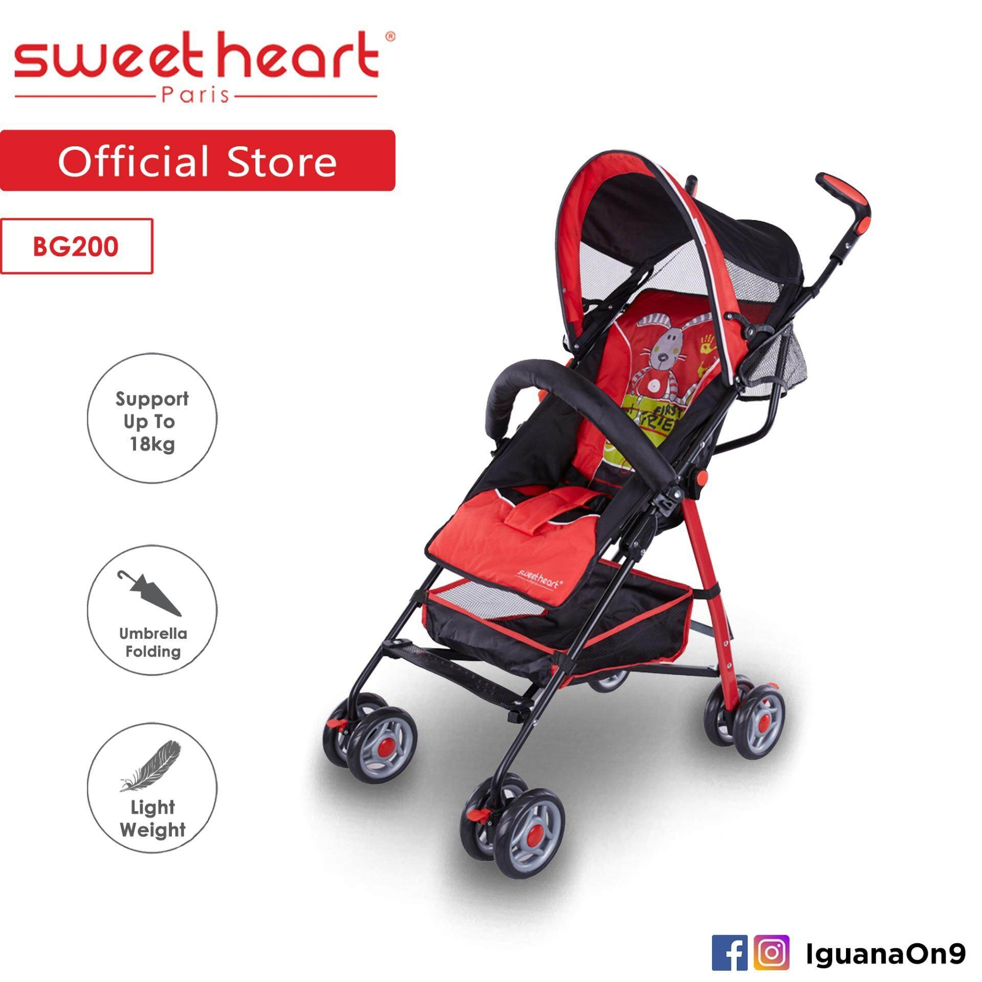 Sweet Heart Paris BG200 Umbrella Stroller Buggy (Red) with Steel Frame & Back-Rest Reclining