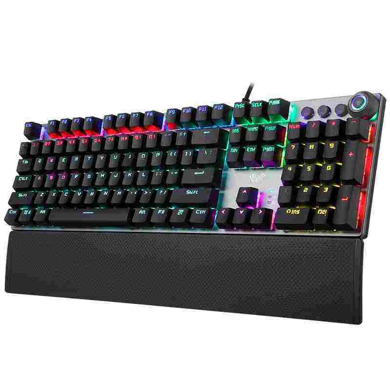 NiceEle AULA Mechanical Gaming Keyboard Multimedia Control Button PC Gaming Keyboard with Wrist Rest- F2088 Singapore