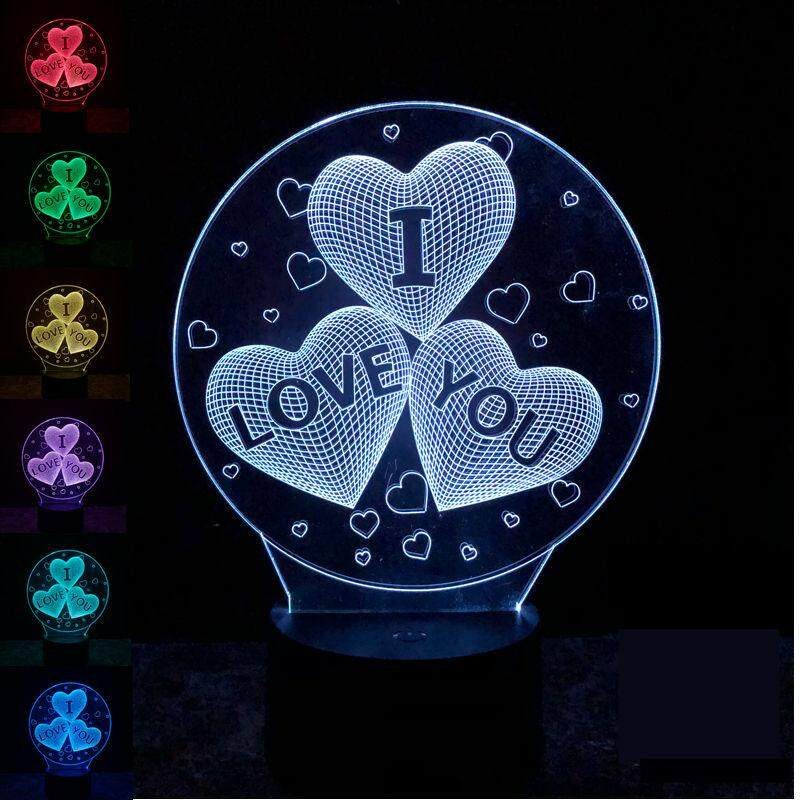 I lOVE YOU Acrylic 7 Colors Meditation 3D LED Touch Control Switch Night Light Bedroom Table Lamp Decoration Light For Lover