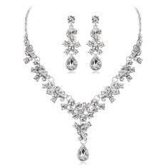 Elegant Bridal Jewelry Sets Wedding Crystal Rhinestone Necklace + Earrings Sets Gifts – intl