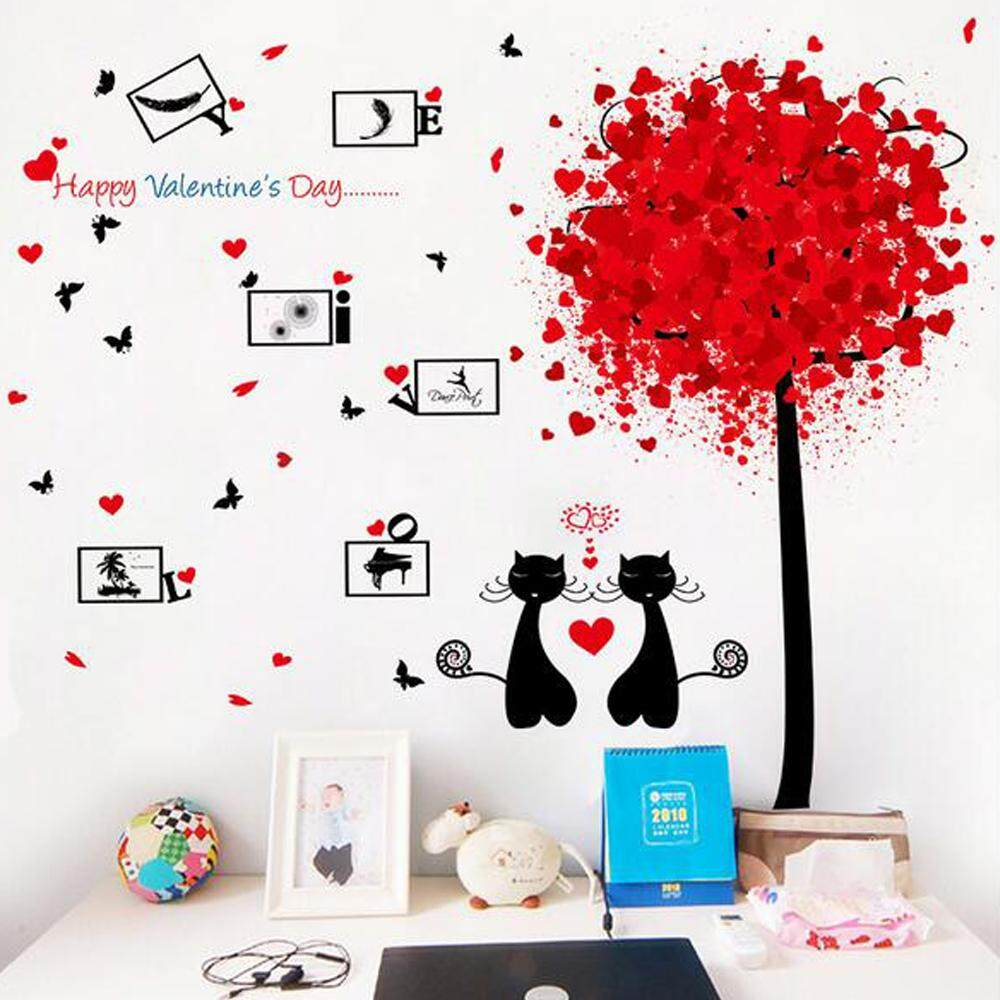 Couple Cat Red Tree PVC Wall Decals DIY Home Sticker WallPaper Vinyl Wall arts Pictures Removable Murals For House Decoration Baby Living Rooms Bedroom Toilet