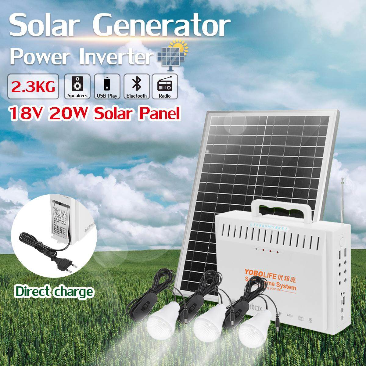 【Free Shipping + Flash Deal】20W 18V Solar Panel RV Boat Power Storage  Generator 3x LED USB Charger System